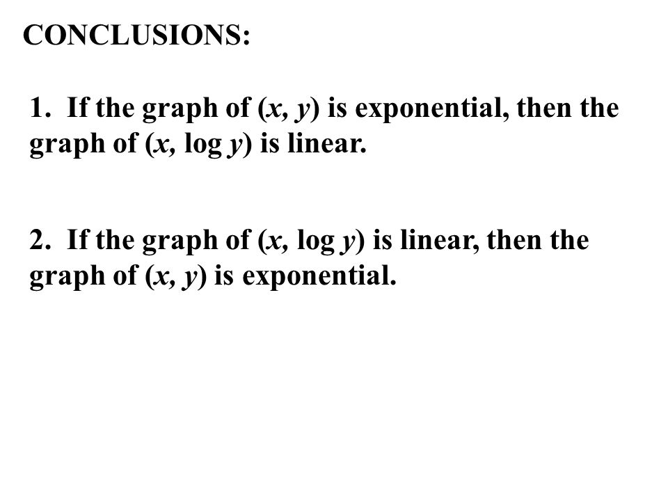 CONCLUSIONS: 1. If the graph of (x, y) is exponential, then the graph of (x, log y) is linear.