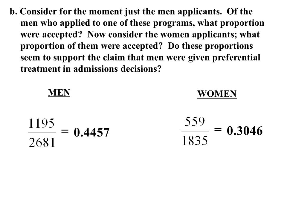 b. Consider for the moment just the men applicants
