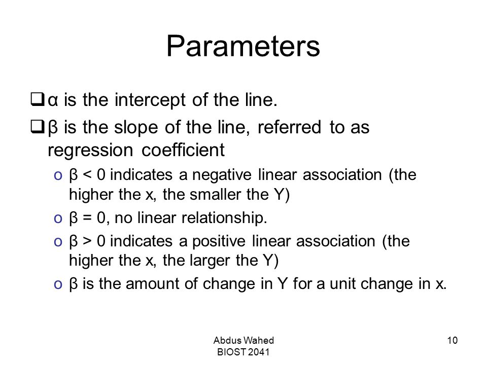 Parameters α is the intercept of the line.
