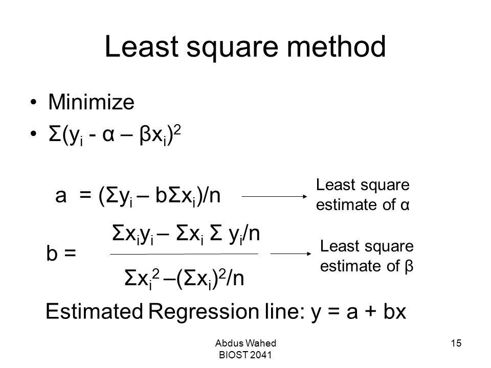 Least square method Minimize Σ(yi - α – βxi)2 a = (Σyi – bΣxi)/n