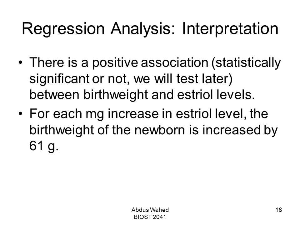 Regression Analysis: Interpretation