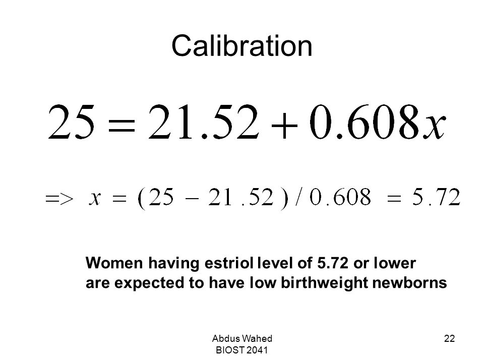 Calibration Women having estriol level of 5.72 or lower