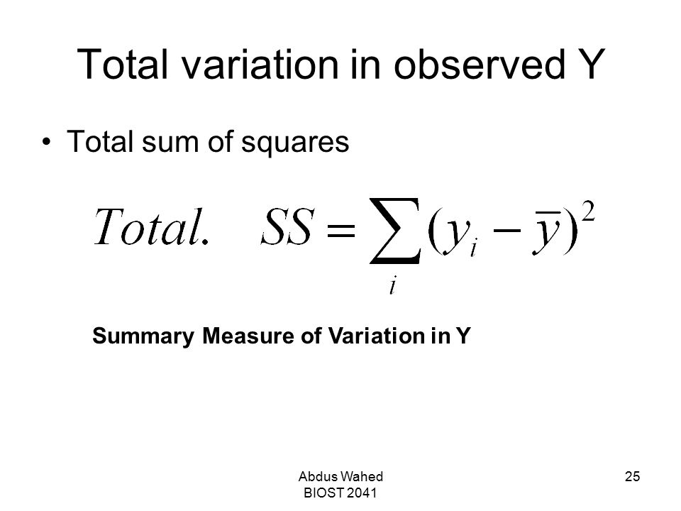 Total variation in observed Y