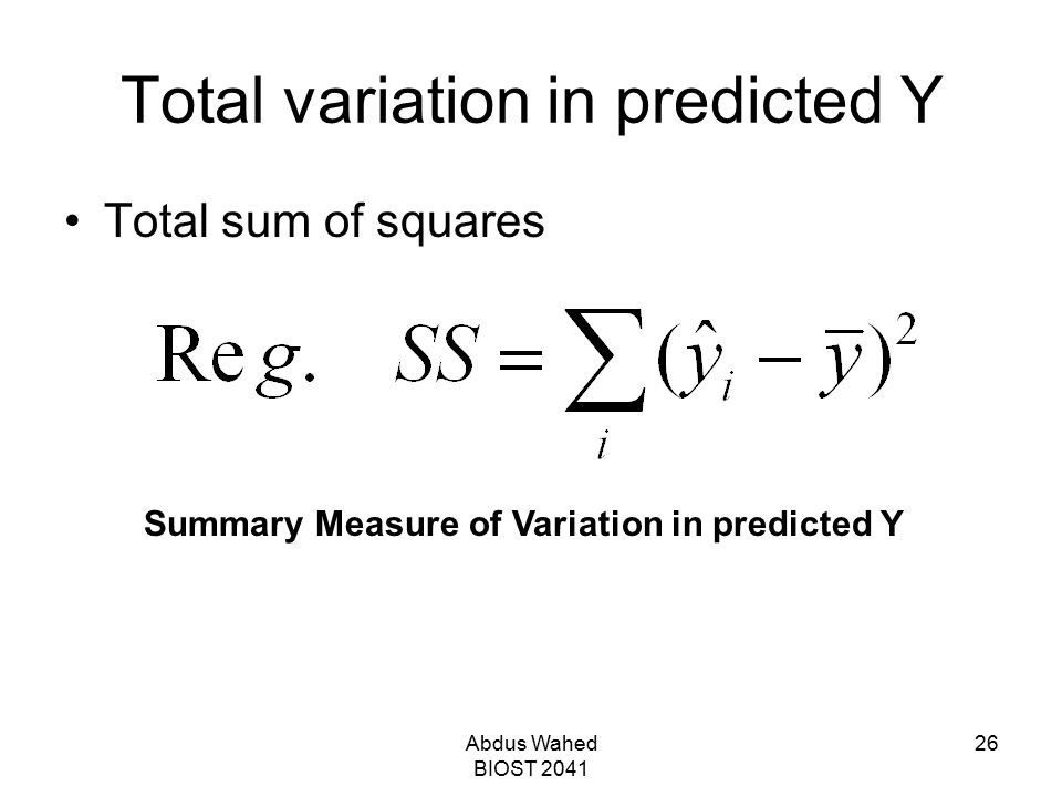 Total variation in predicted Y
