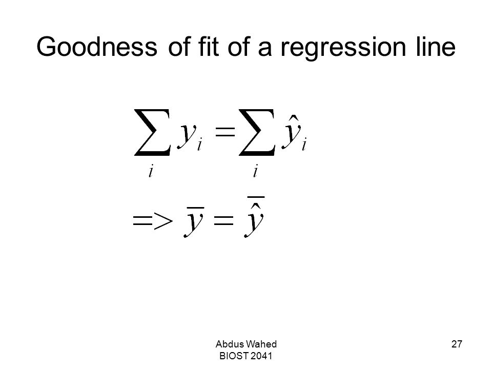 Goodness of fit of a regression line