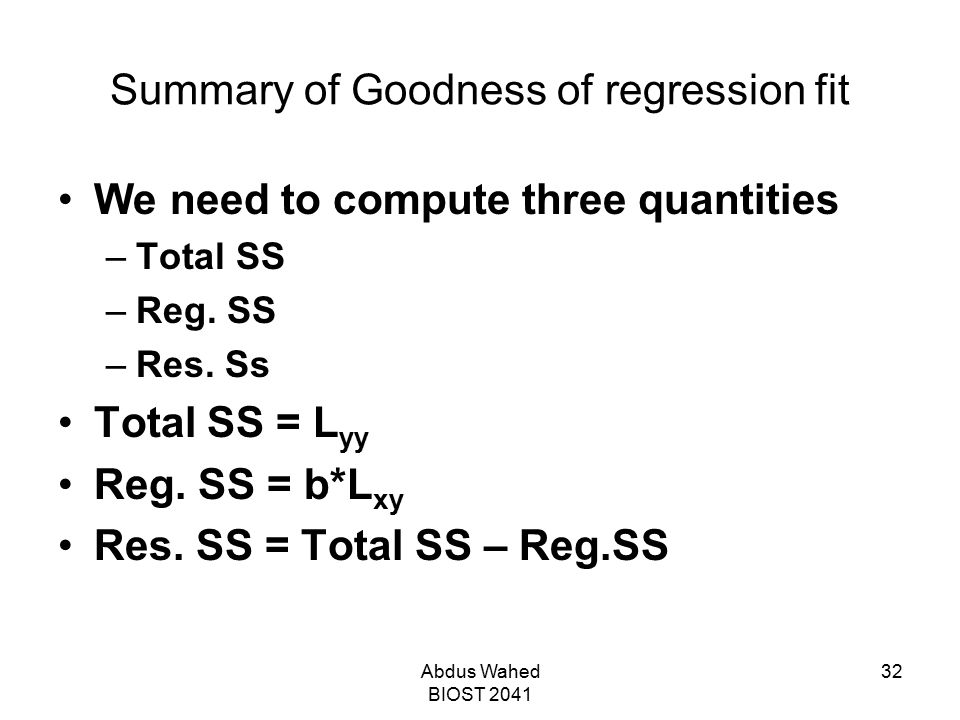 Summary of Goodness of regression fit