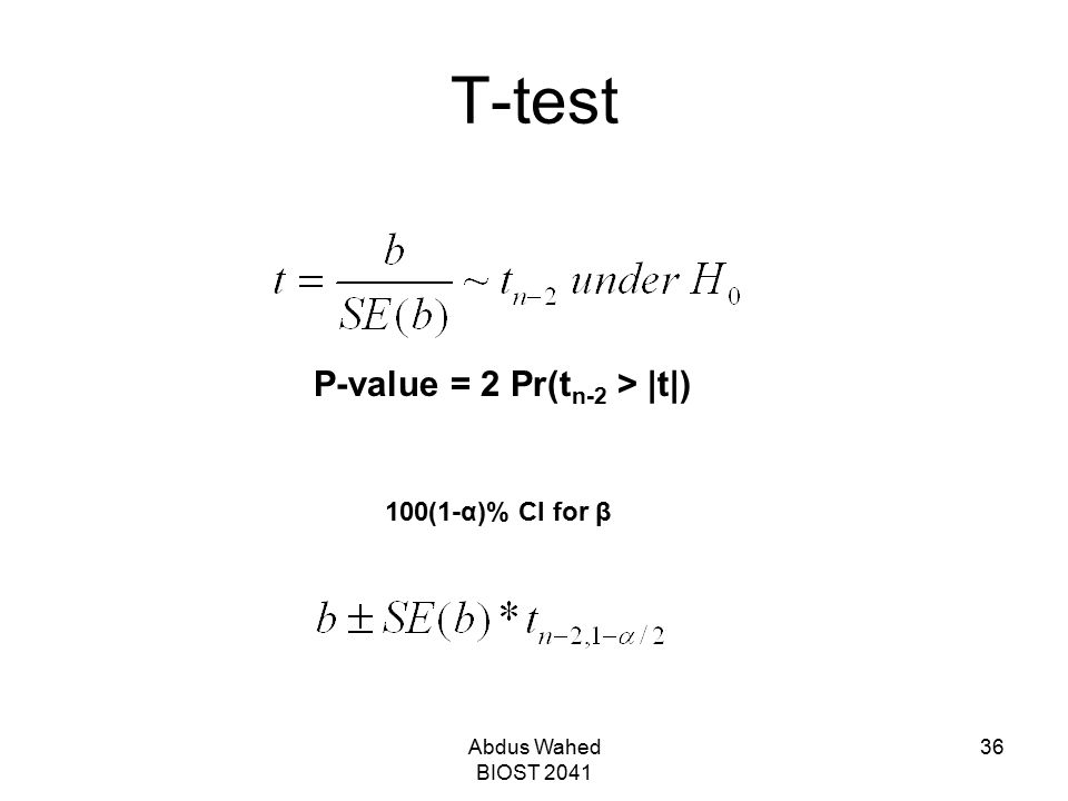 T-test P-value = 2 Pr(tn-2 > |t|) 100(1-α)% CI for β