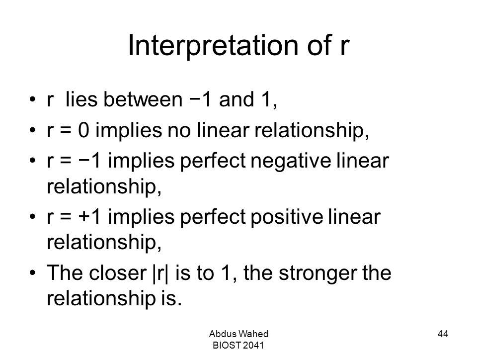 Interpretation of r r lies between −1 and 1,