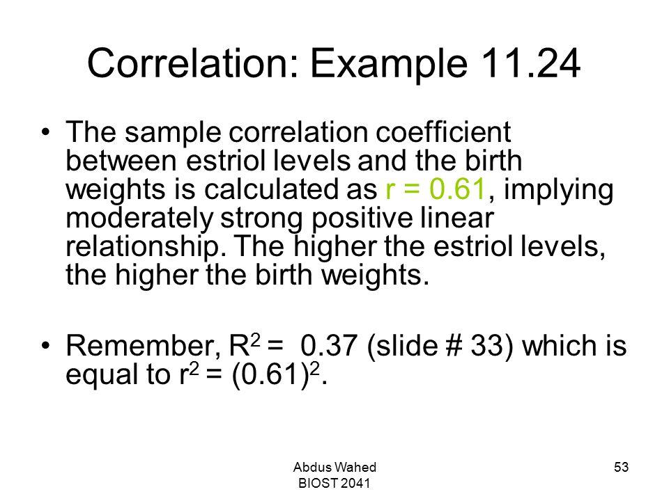 Correlation: Example 11.24