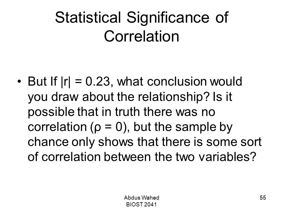 Statistical Significance of Correlation