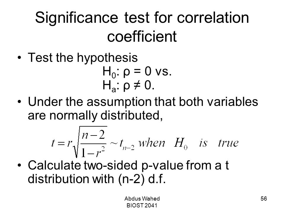 Significance test for correlation coefficient