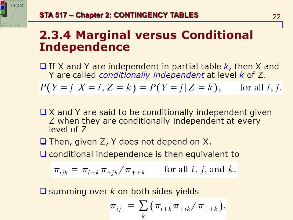 2.3.4 Marginal versus Conditional Independence