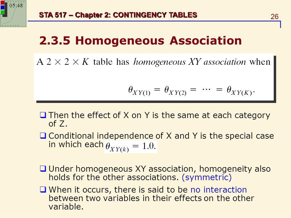 2.3.5 Homogeneous Association