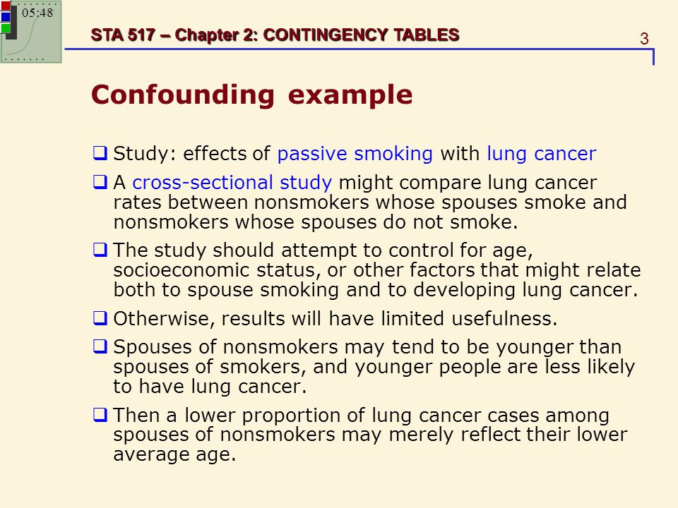 Confounding example Study: effects of passive smoking with lung cancer