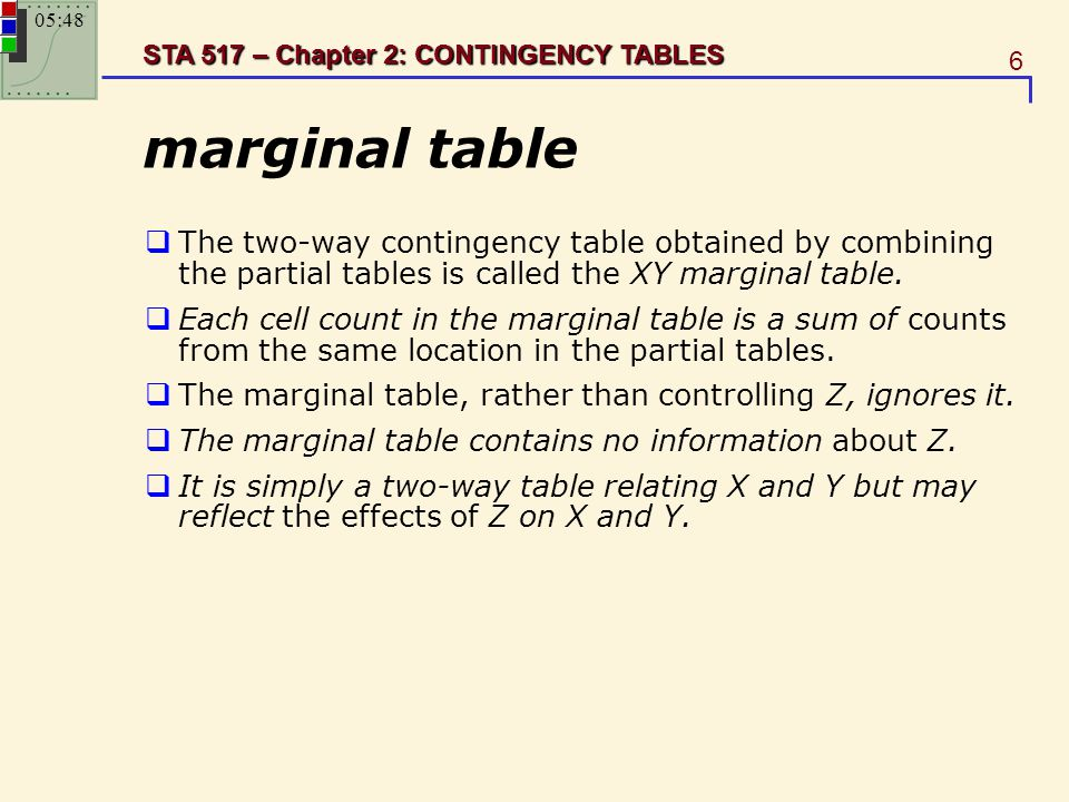 23:11 marginal table. The two-way contingency table obtained by combining the partial tables is called the XY marginal table.