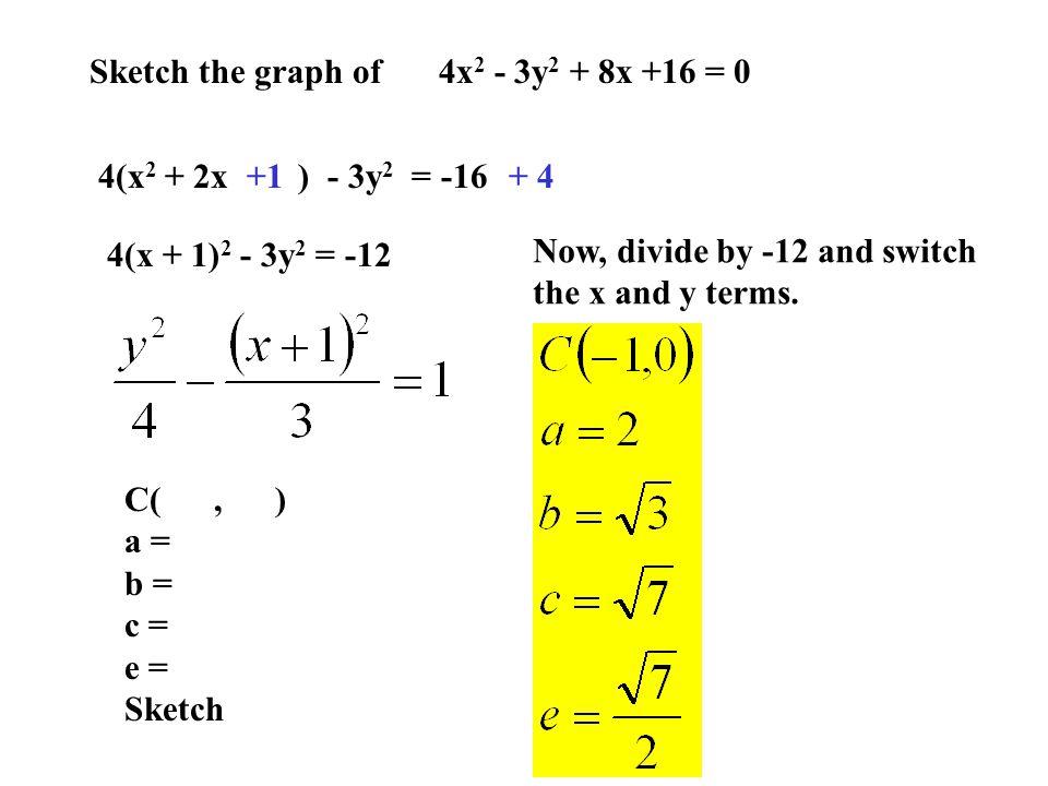 Sketch the graph of 4x2 - 3y2 + 8x +16 = 0. 4(x2 + 2x ) - 3y2 = -16. +1. + 4. 4(x + 1)2 - 3y2 = -12.