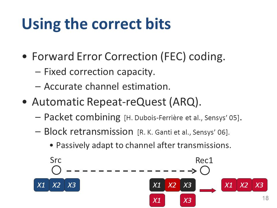 Using the correct bits Forward Error Correction (FEC) coding.
