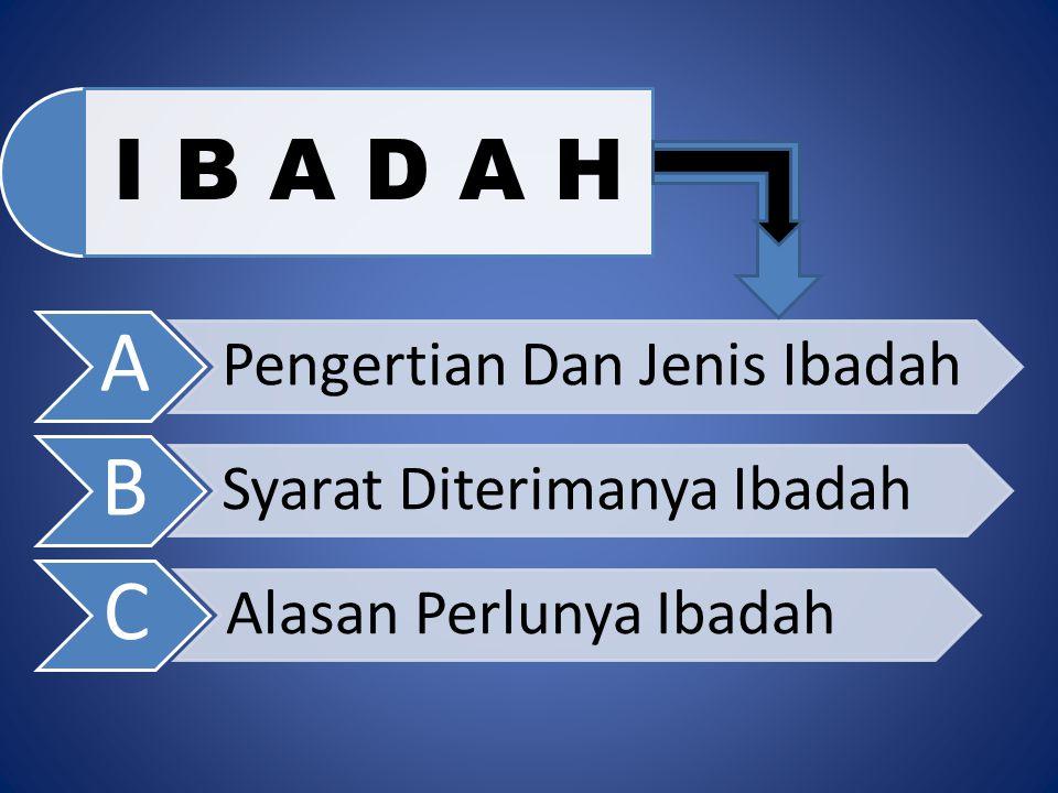 I B A D A H A Pengertian Dan Jenis Ibadah B Syarat Diterimanya Ibadah C Alasan Perlunya Ibadah