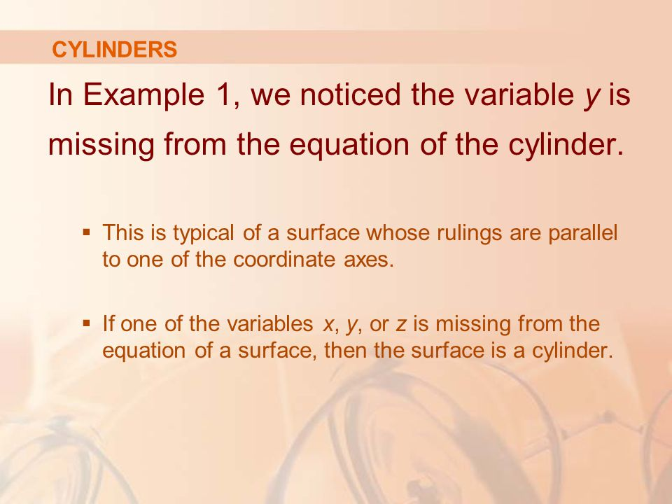 CYLINDERS In Example 1, we noticed the variable y is missing from the equation of the cylinder.