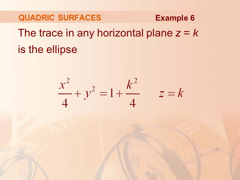 The trace in any horizontal plane z = k is the ellipse