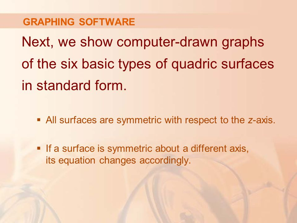 GRAPHING SOFTWARE Next, we show computer-drawn graphs of the six basic types of quadric surfaces in standard form.