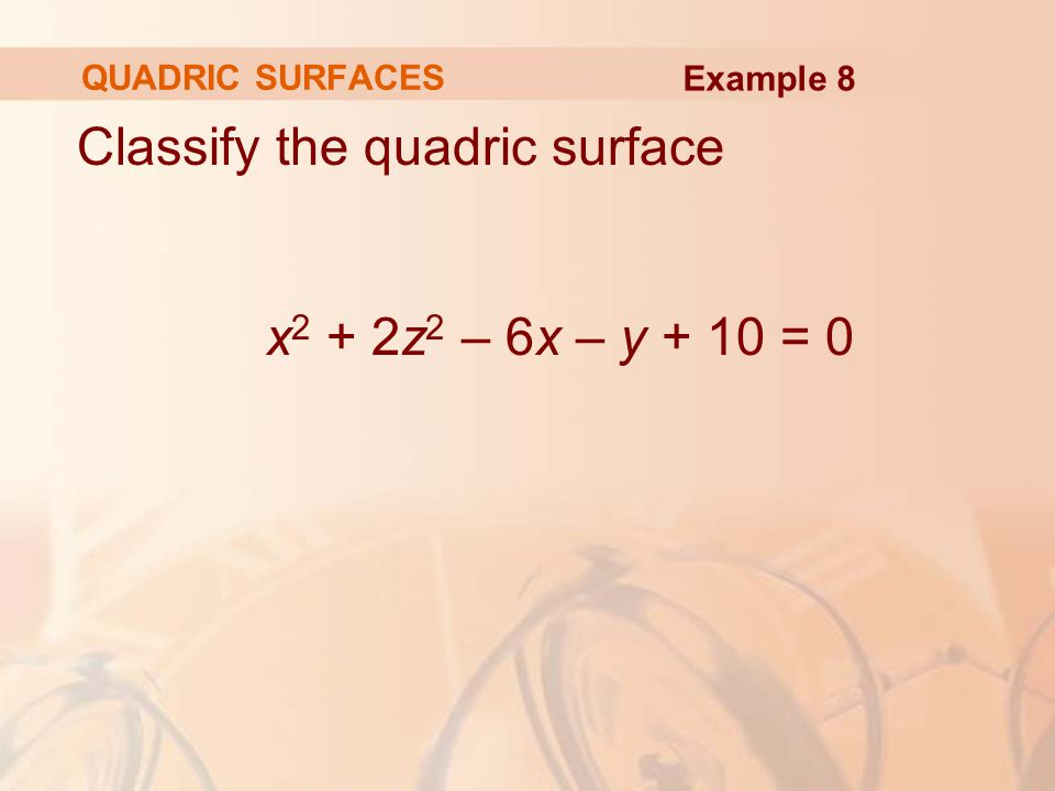 Classify the quadric surface