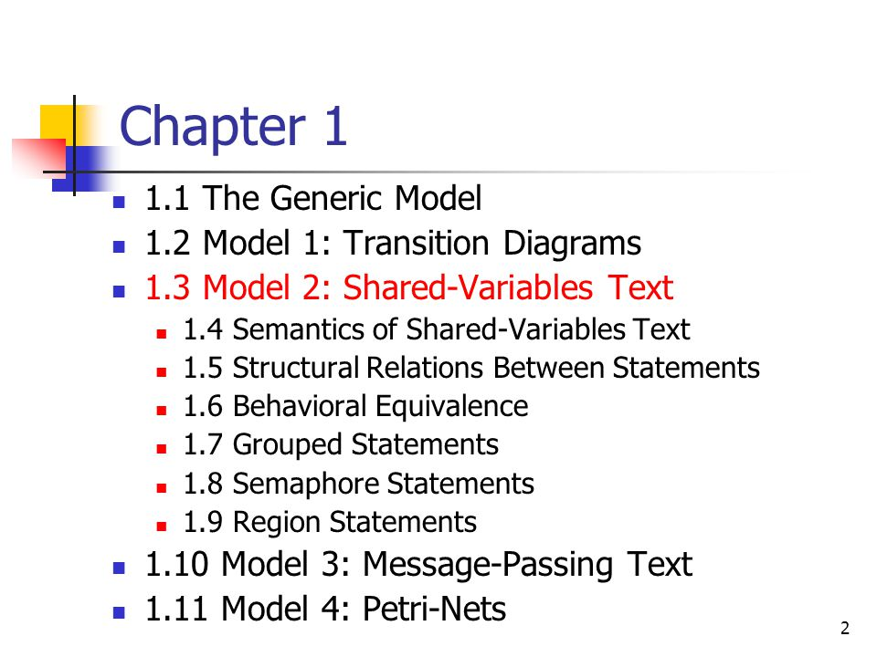 Chapter 1 1.1 The Generic Model 1.2 Model 1: Transition Diagrams