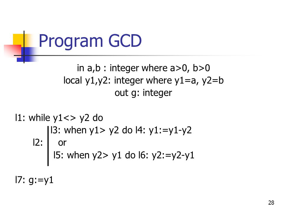 Program GCD in a,b : integer where a>0, b>0