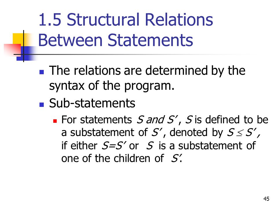 1.5 Structural Relations Between Statements