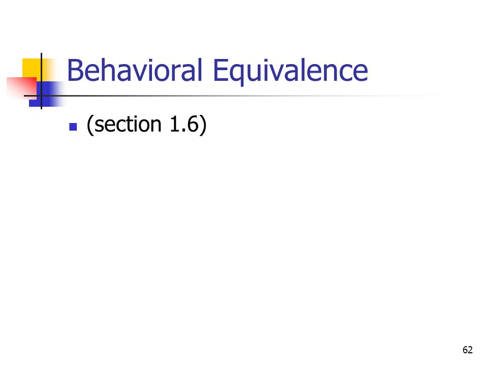 Behavioral Equivalence