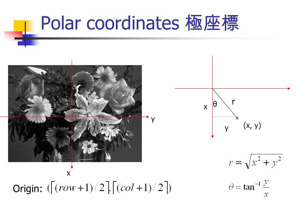 Polar coordinates 極座標 r θ x y (x, y) y x Origin: