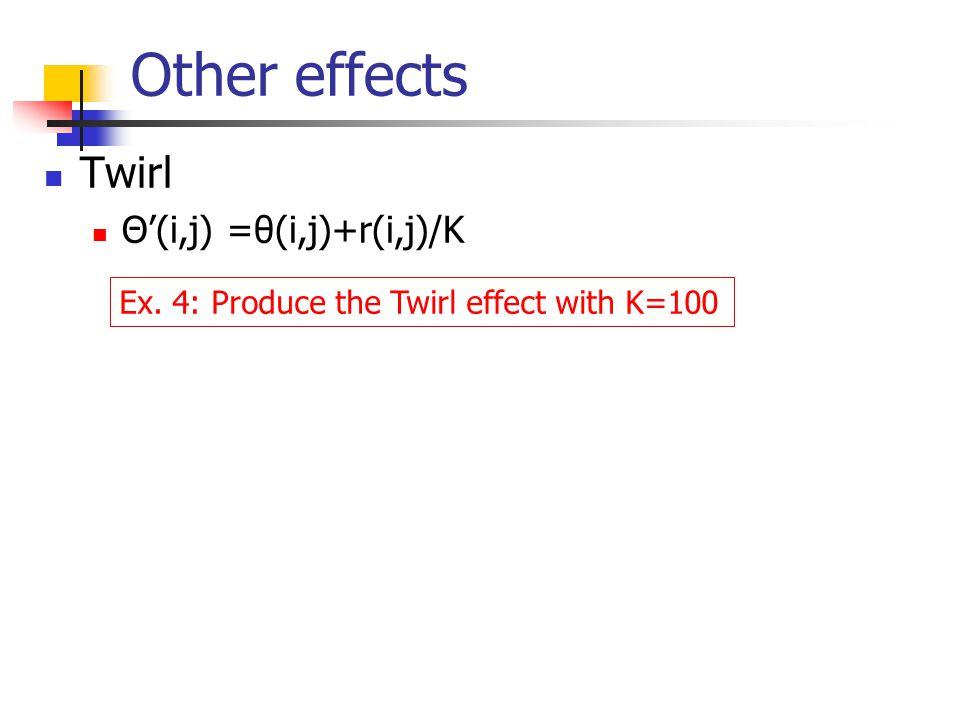 Other effects Twirl Θ'(i,j) =θ(i,j)+r(i,j)/K