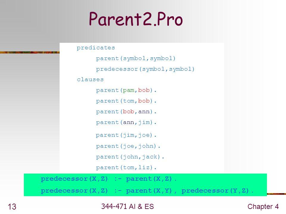 Parent2.Pro parent(jim,joe). predecessor(X,Z) :- parent(X,Z).