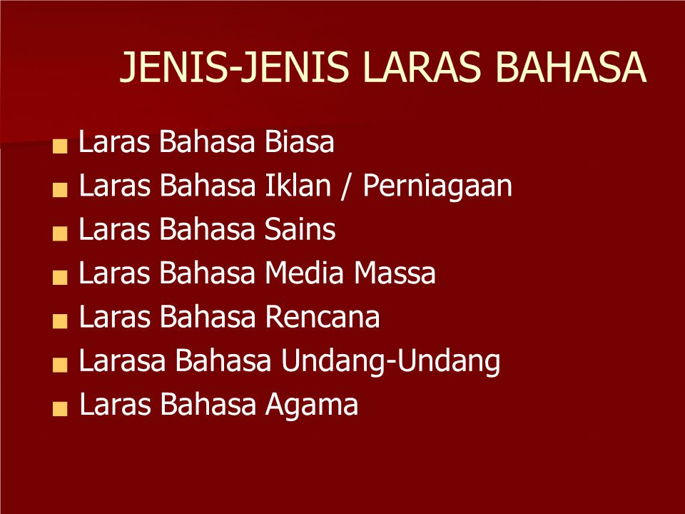 JENIS-JENIS LARAS BAHASA