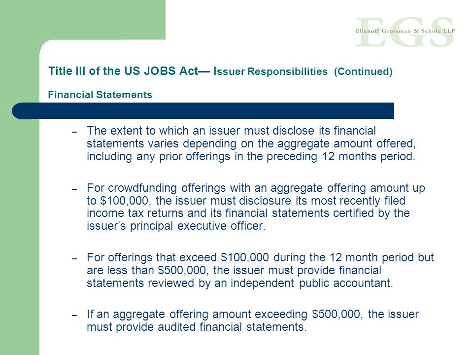 Title III of the US JOBS Act— Issuer Responsibilities (Continued) Financial Statements