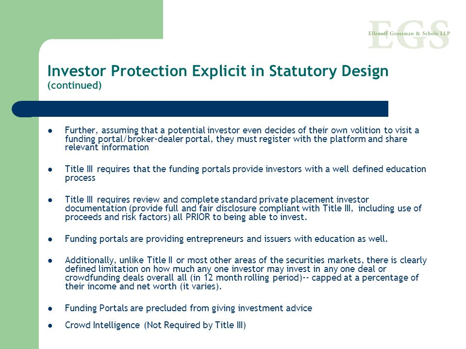 Investor Protection Explicit in Statutory Design (continued)