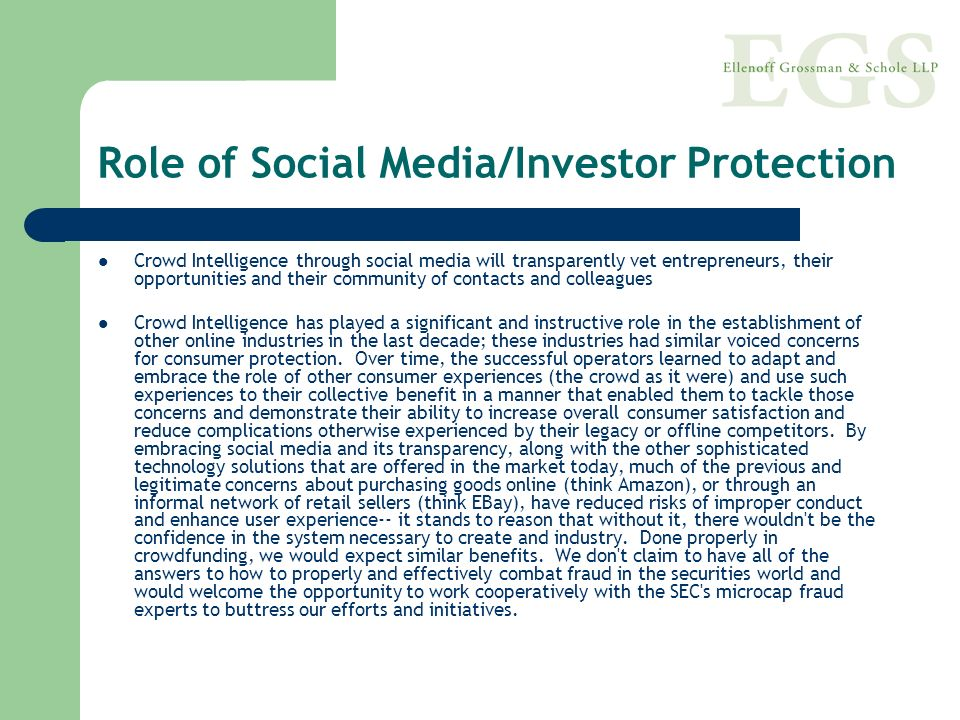 Role of Social Media/Investor Protection