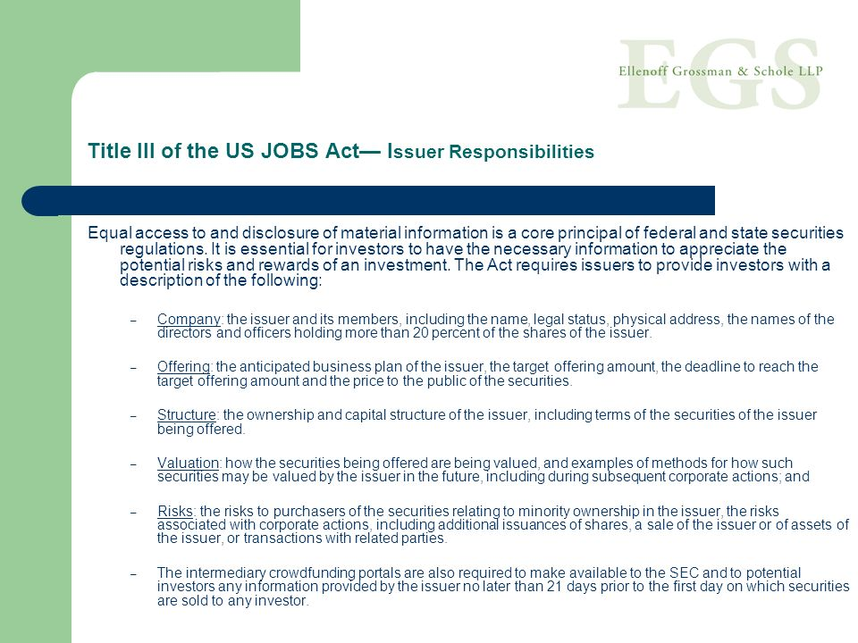Title III of the US JOBS Act— Issuer Responsibilities
