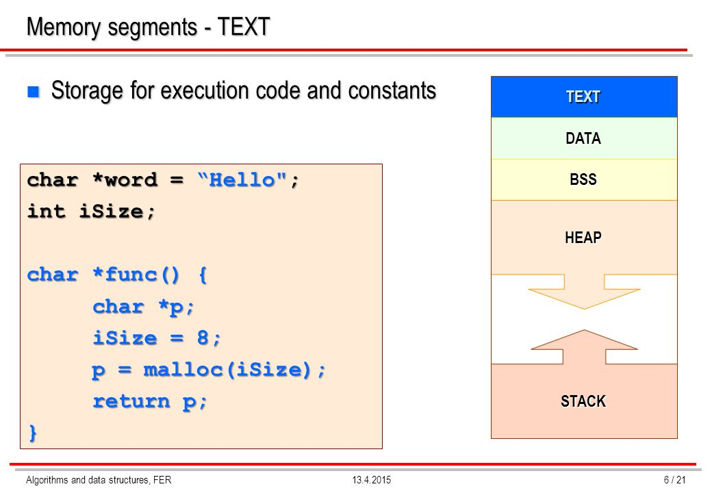 Storage for execution code and constants