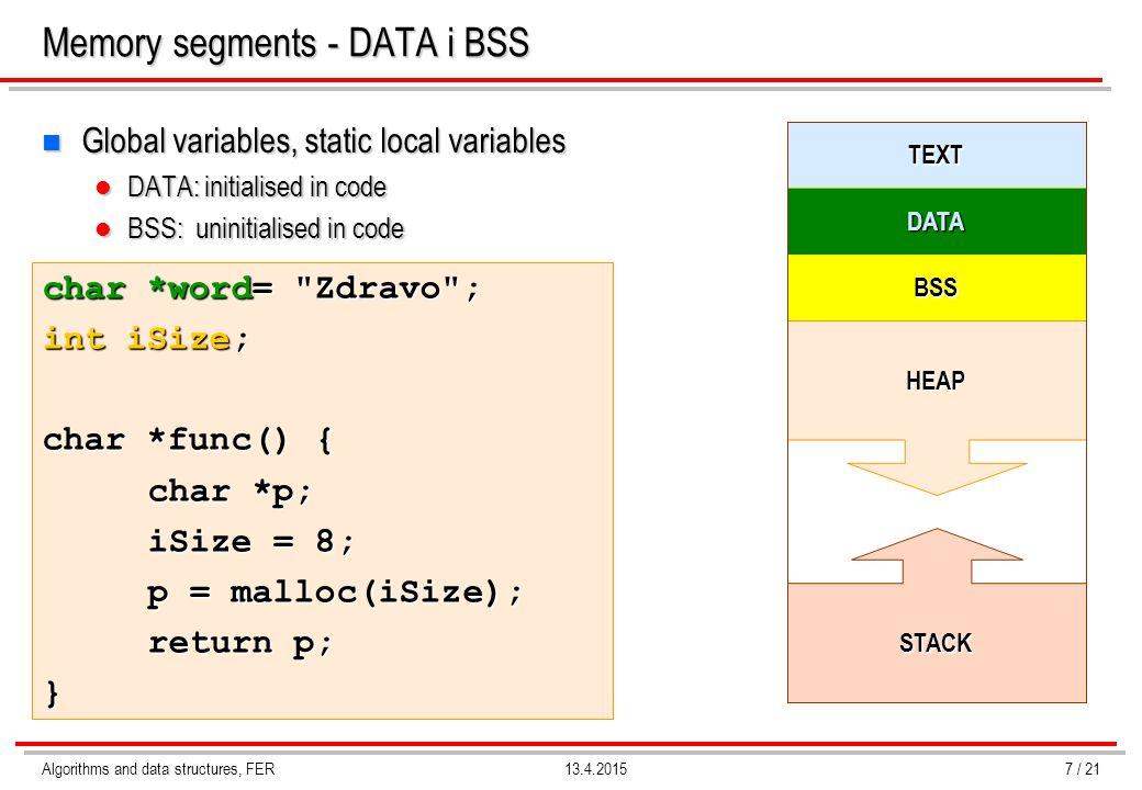 Memory segments - DATA i BSS