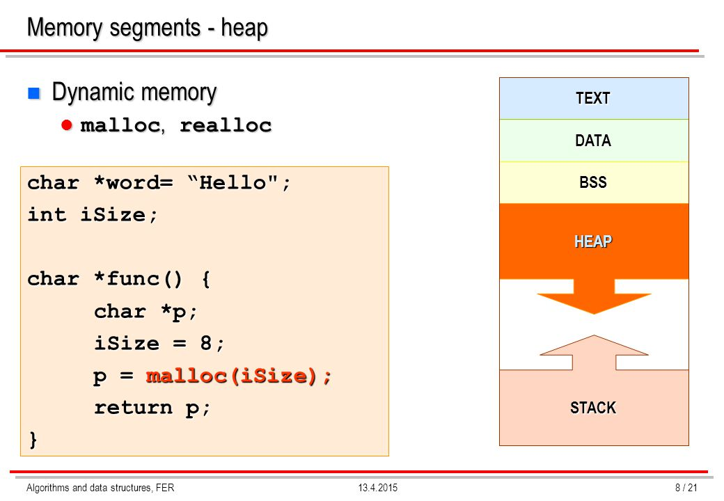 Memory segments - heap Dynamic memory malloc, realloc