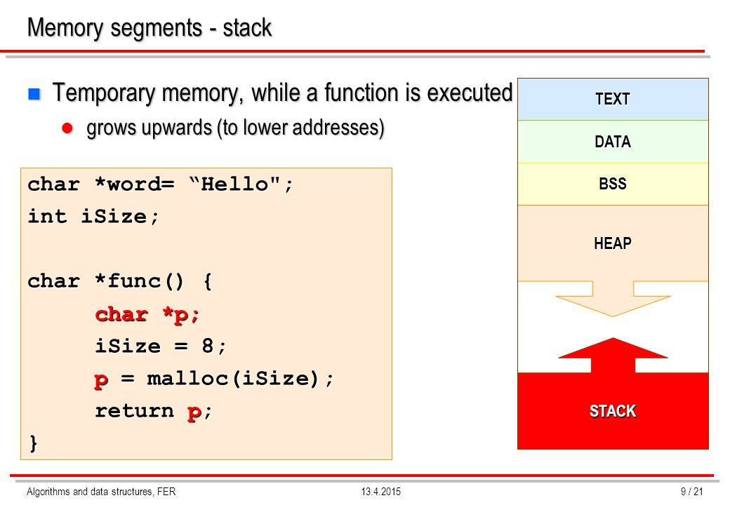Memory segments - stack