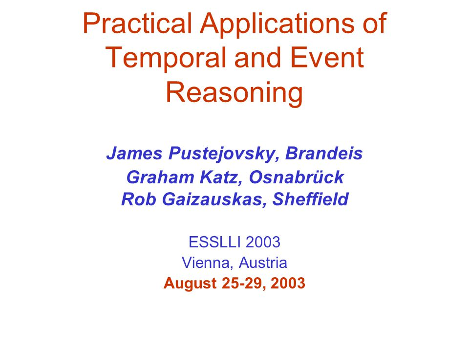 Practical Applications of Temporal and Event Reasoning