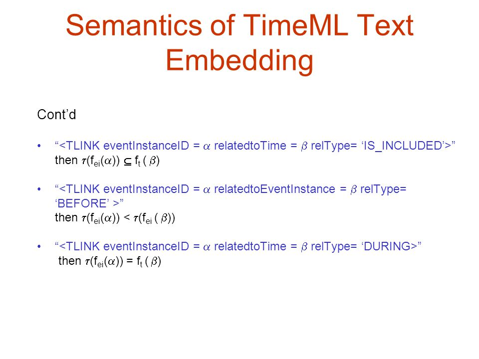 Semantics of TimeML Text Embedding