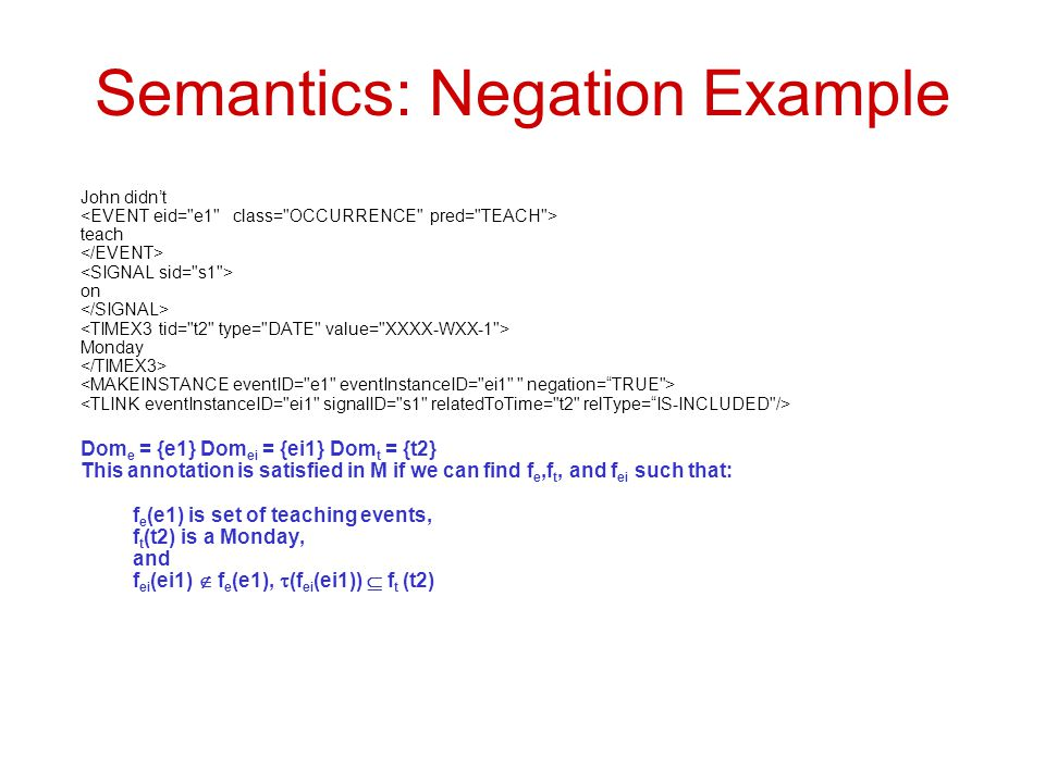 Semantics: Negation Example