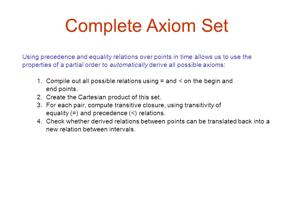 Complete Axiom Set