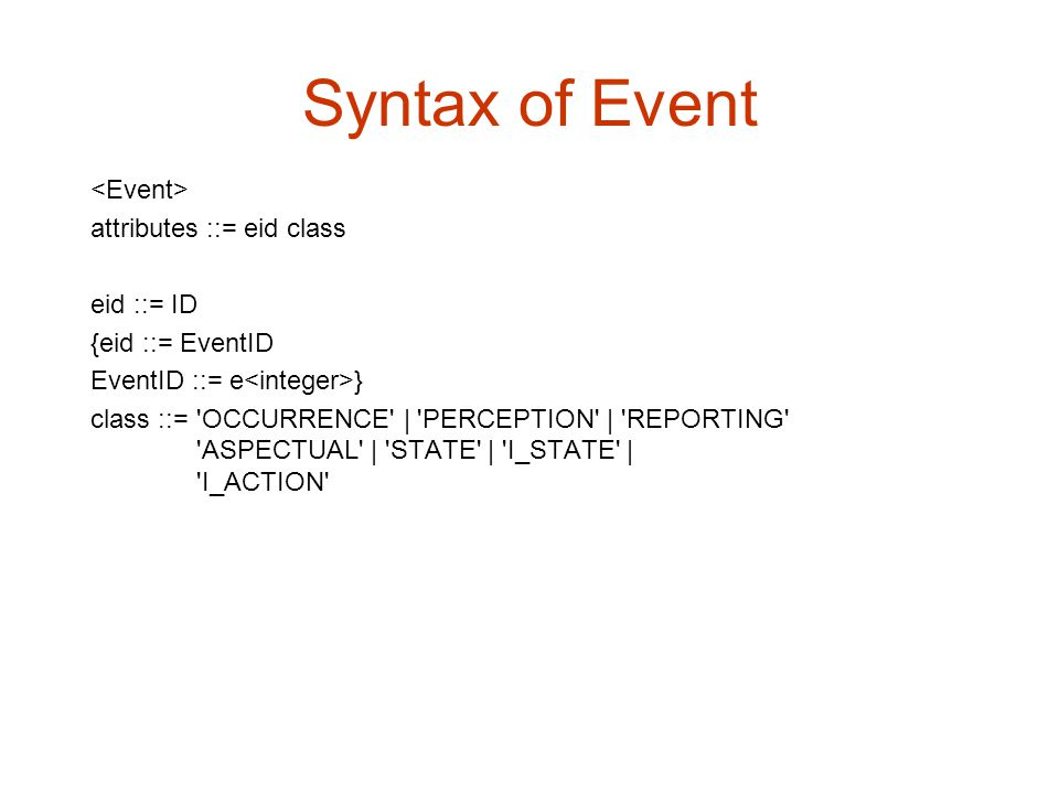 Syntax of Event <Event> attributes ::= eid class eid ::= ID