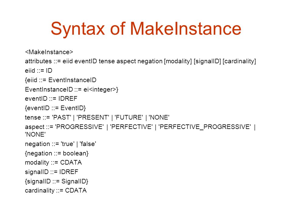 Syntax of MakeInstance