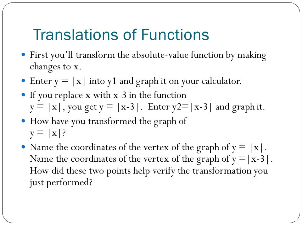 Translations of Functions