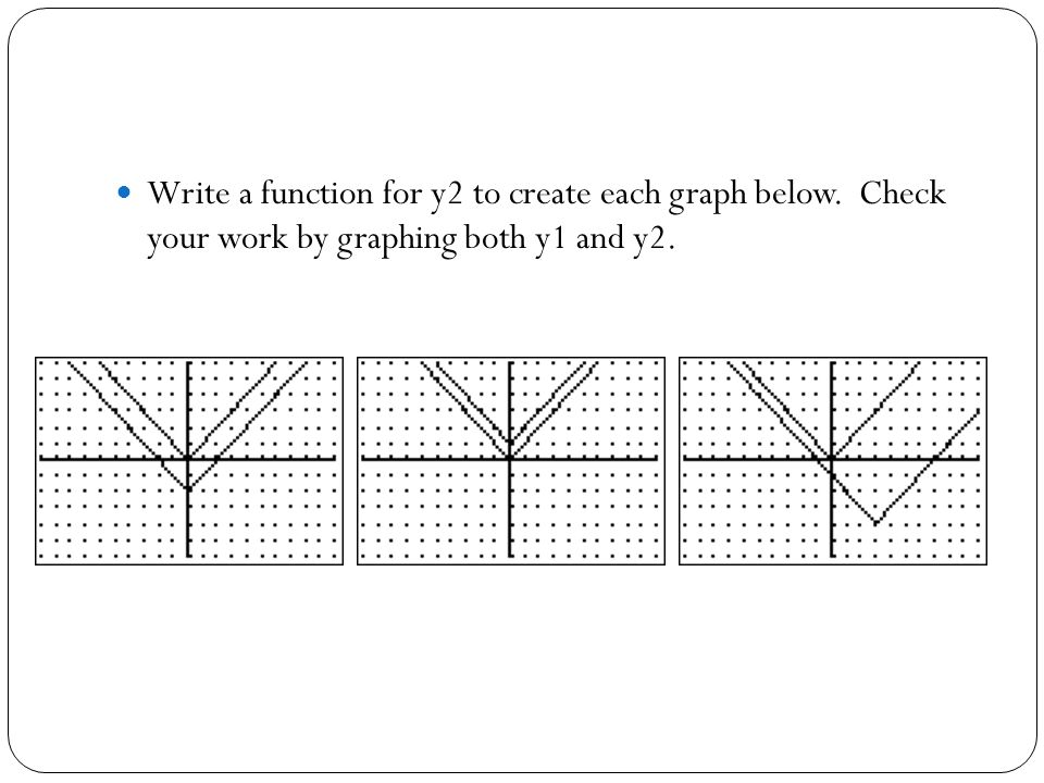 Write a function for y2 to create each graph below
